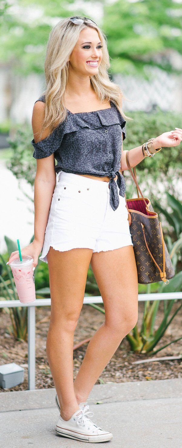 #summer #outfits A Casual #ootd For Running Tons Of Errands Today!  // Dark Cold Shoulder Top + White Denim Short + White Converse // Shop This Outfit In The Link
