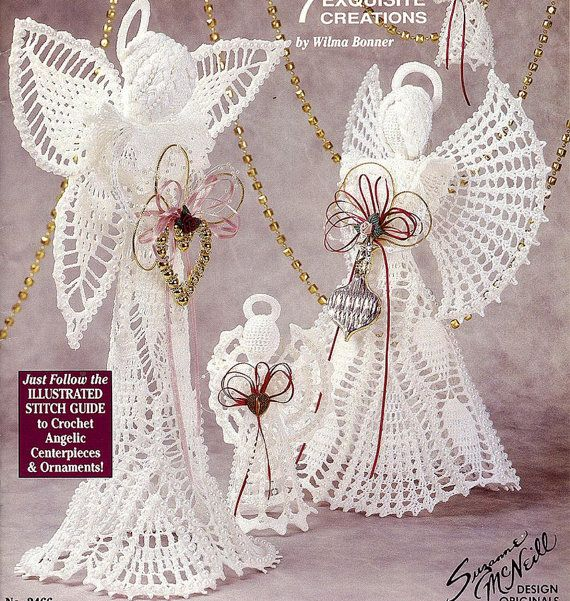 Crochet Angels, 7 Exquisite Creations, Angelic Centerpieces & Ornaments, Pattern Book in Excellent Condition via Etsy