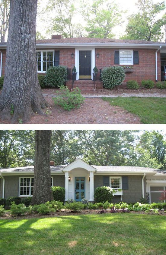This remodeled ranch gained curb appeal with a new entryway and paint  Love the before and after photos.  Visit the blog to see the other 7 stunning home updates.