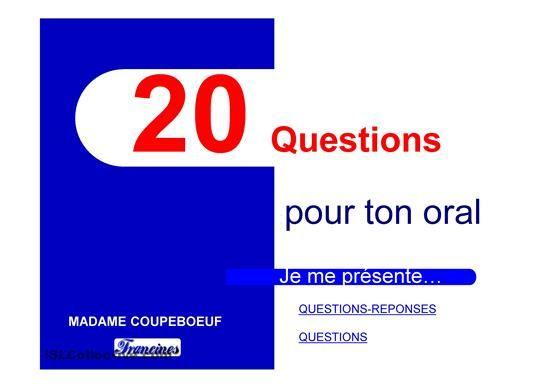 questions-réponses pour s'entraîner à l'oral sur la présentation personnelle. - Powerpoints FLE