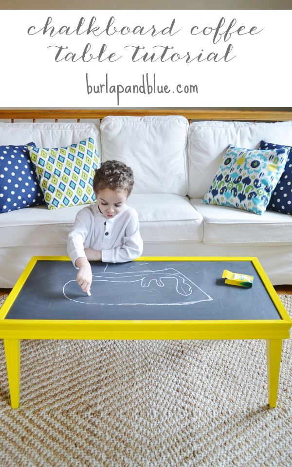 Chalkboard-topped coffee table by burlap+blue