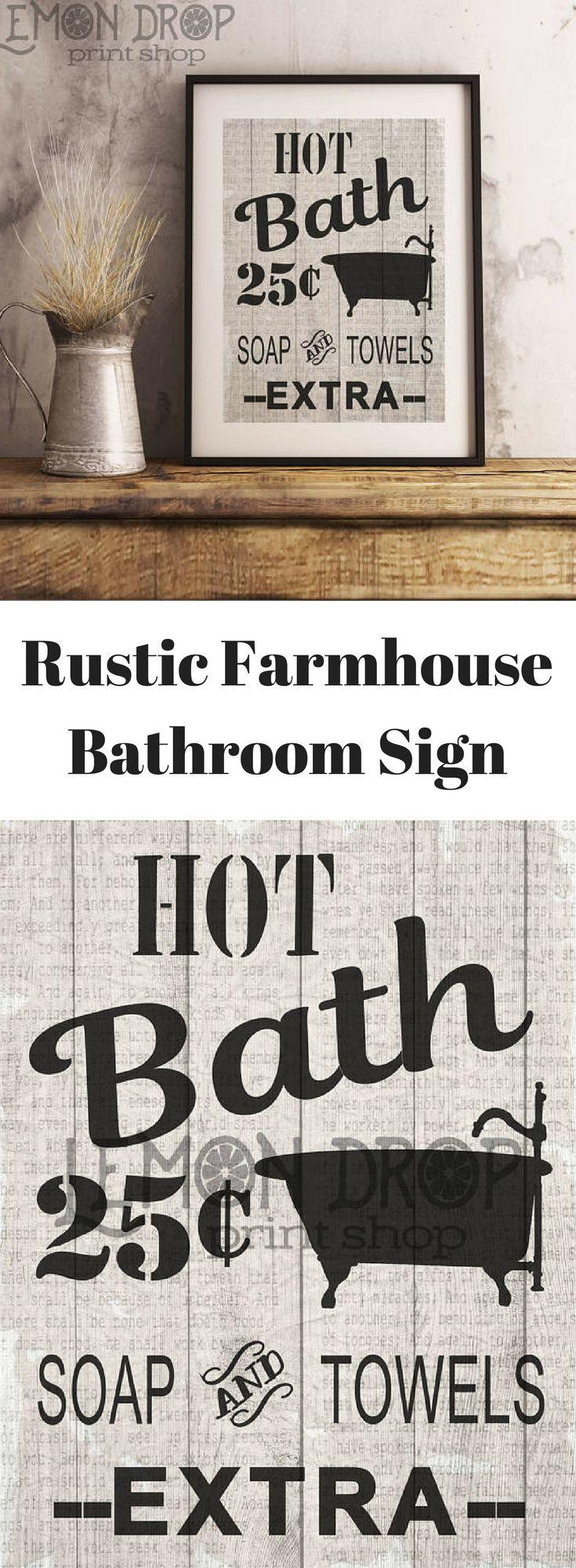 Rustic Farmhouse Bathroom Sign Printable Printable
