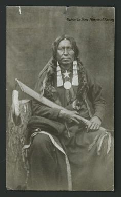 Studio Portrait of White Thunder, a Brule Sioux Native American. circa 1880. Photographer: W. R. Cross