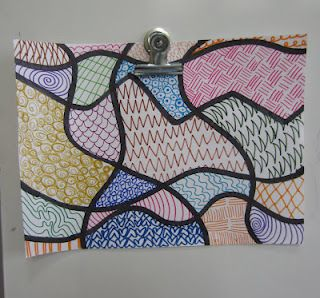 Dali's Moustache: 1st grade  Zentangles for younger students