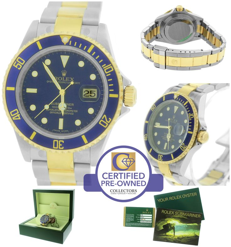 2010 ENGRAVED UNWORN Rolex Submariner Date 16613 T Two-Tone Gold Blue Dive Watch
