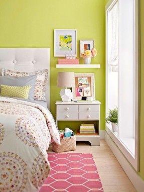 shelf above nightstand