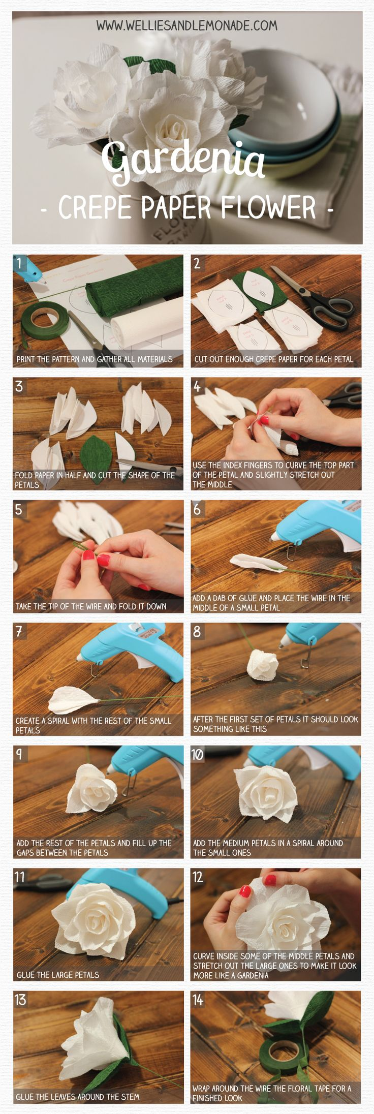 Get your free template for this gorgeous crepe paper gardenia and make your own today. Find more flower tutorials at http://www.welliesandlemonade.com/