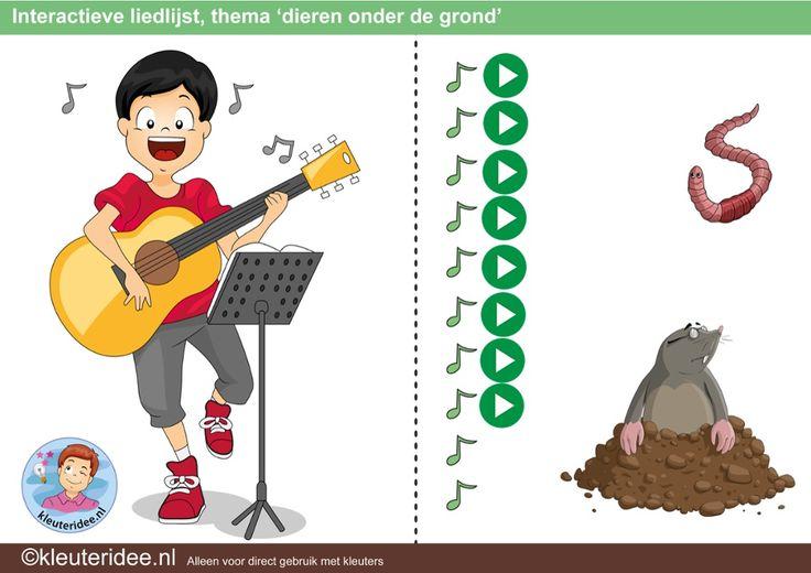 Interactieve liedlijst thema 'dieren onder de grond', kleuteridee.nl