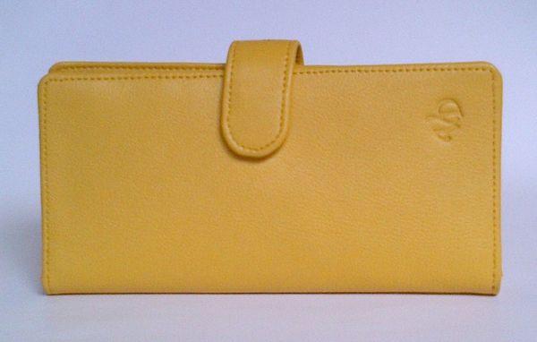 Dompet kulit asli wanita P-16 kuning lidah kuncian