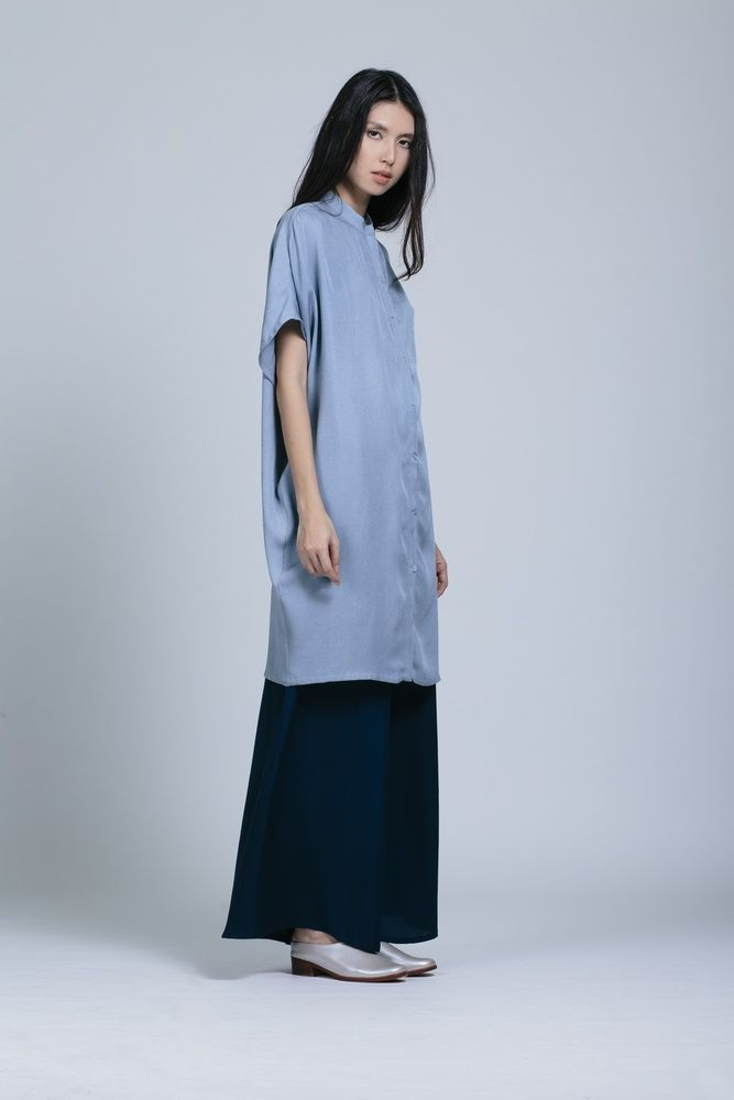KAAREM Xu Xa Dolman Shirt Dress and Song Tu Wide Leg Silk Pant