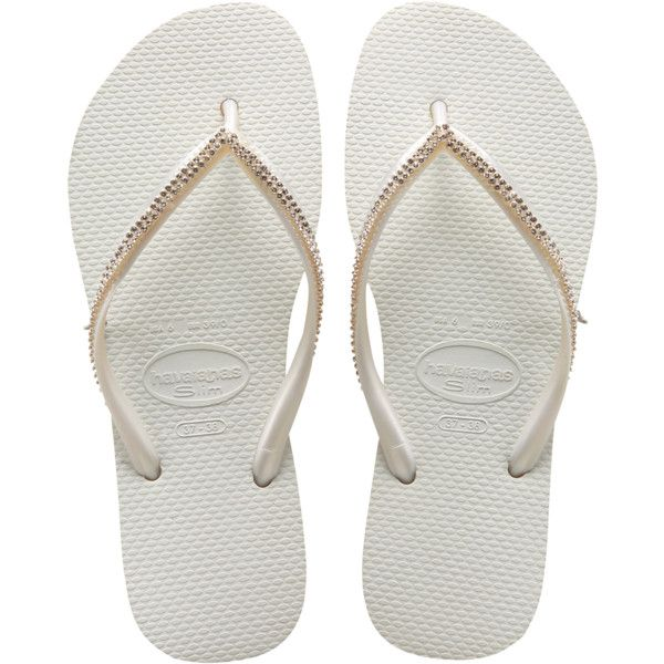 Havaianas Slim Crystal Mesh (535 BRL) ❤ liked on Polyvore featuring shoes, sandals, flip flops, sapatos, chinelos, white, women, havaianas flip flops, havaianas shoes and white shoes