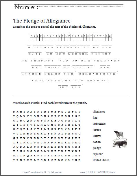 pledge of allegiance puzzle worksheet great for flag day june 14 free and easy to print. Black Bedroom Furniture Sets. Home Design Ideas
