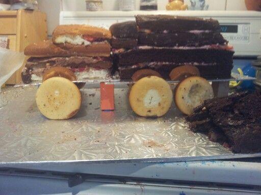 homemade dumptruck cake before icing