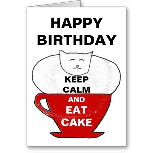 funny keep calm birthday cat card