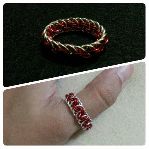 Viperbasket chainmaille ring - cool weave