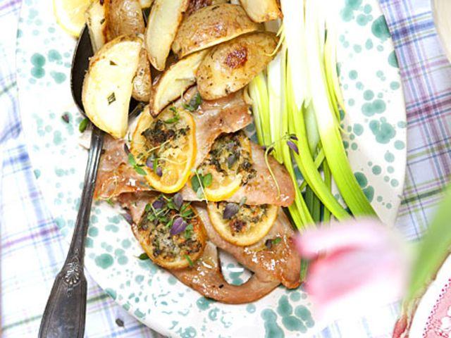 Kyckling med citron- och vitlökssmör (kock Anette Rosvall och Emma Hamberg)