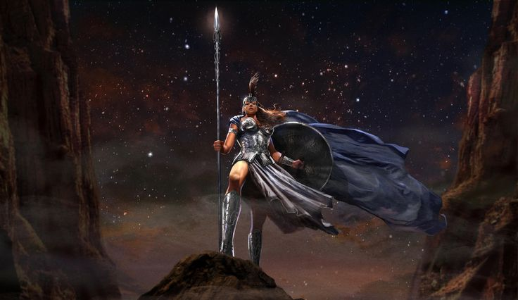 Download wallpaper athena, rudyao, fantasy, myth, greece, goddess, athena, the goddess, fantasy resolution 3000x1738