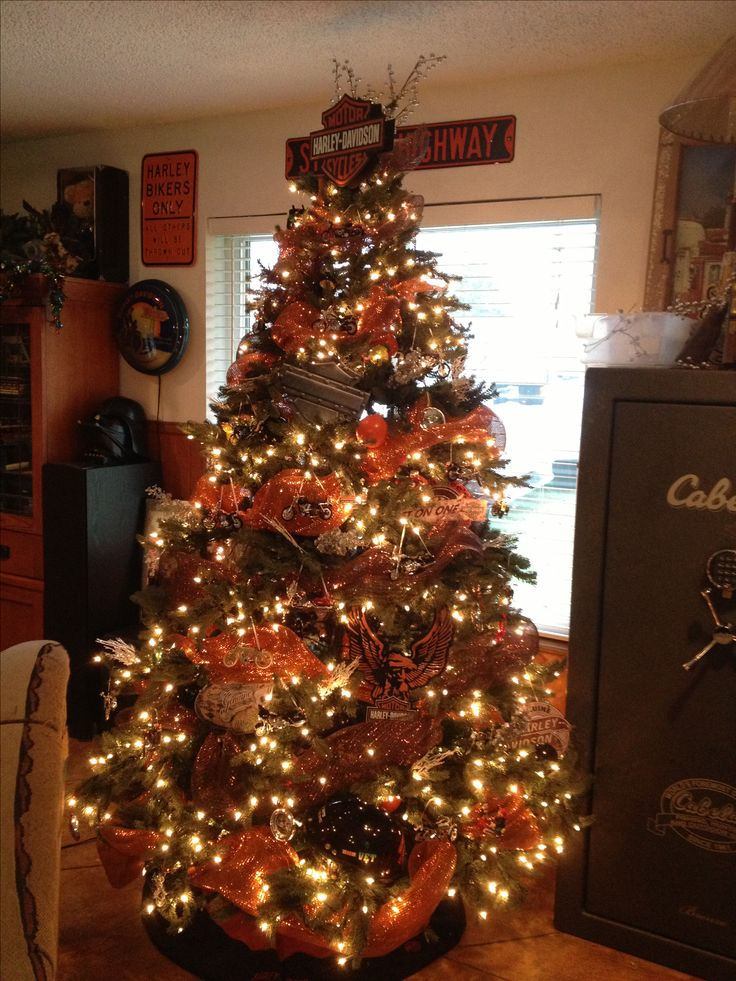 Harley Davidson Christmas tree. In memory of my late husband Jerry Bahm