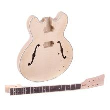 Unfinished DIY Electric Guitar Kit Semi Hollow Basswood Body Rosewood Fingerboard Maple Neck