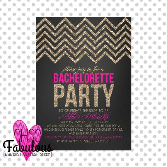 Glitter Chevron /// Bridal Shower Bachelorette Party Invitation /// Customizable and PRINTABLE on Etsy, $11.20