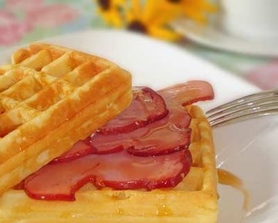 German waffles and ham