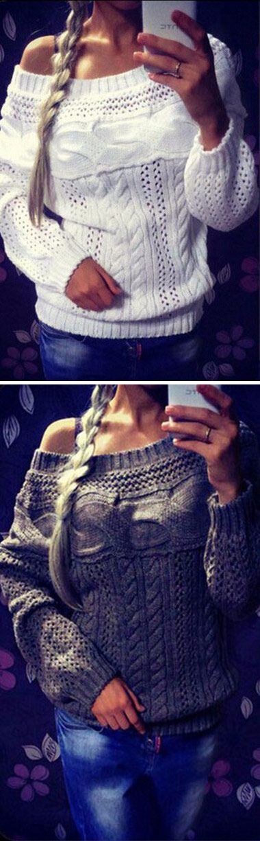 Elegant Grey Pullover Knitwear For Women. Repin if you like!