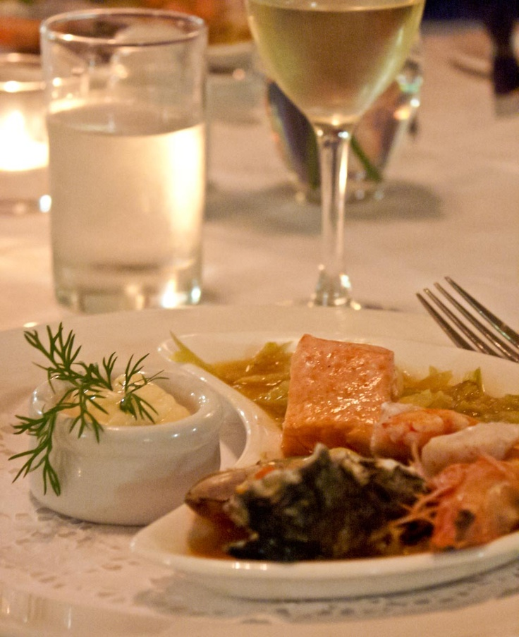 Light seafood supper in The Grand Dining Room at the Carrington Hotel, Katoomba, New South Wales