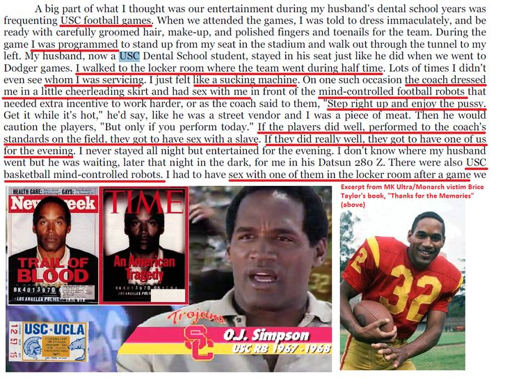 """USC's psychiatric department is a notorious mind control programming and trauma site, named by MK Ultra/Monarch victims.  Mind control is allegedly used on USC football and basketball players.  One notable USC footbal player who had a notable MK Ultra-esque breakdown:  Mr. Orenthal James Simpson, better known as """"OJ""""."""