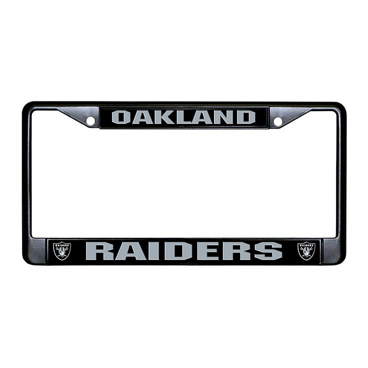 Officially Licensed NFL Black Laser-Cut Chrome License Plate Frame - Raiders