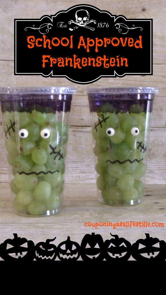 School Approved Frankenstein This is a super easy super adorable Halloween snack for your children's class party.   Head on over to Costco or BJ's and stock up on some green grapes.  Get your kids to decorate a bunch of Frankenstein's for you and have a great time creating this super easy snack together.  Your child...  Read more »: