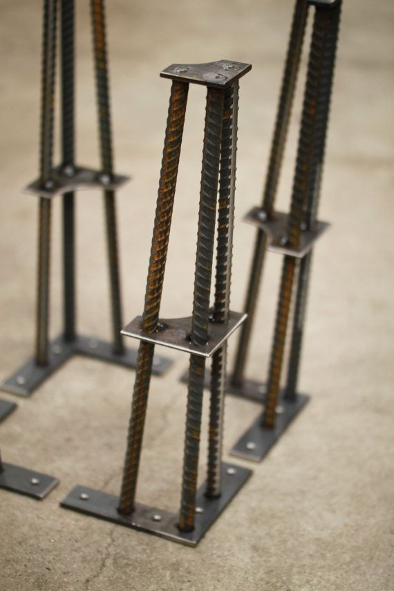 "Industrial Table Leg- 16"" Height- 1/2 ReBar 16"" height works well for coffee tables, benches, end tables, etc. Table legs are constructed"