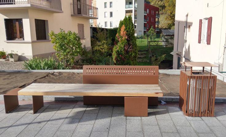 guyon mobilier urbain corten banc public bois et m tal timber and metal pinterest. Black Bedroom Furniture Sets. Home Design Ideas