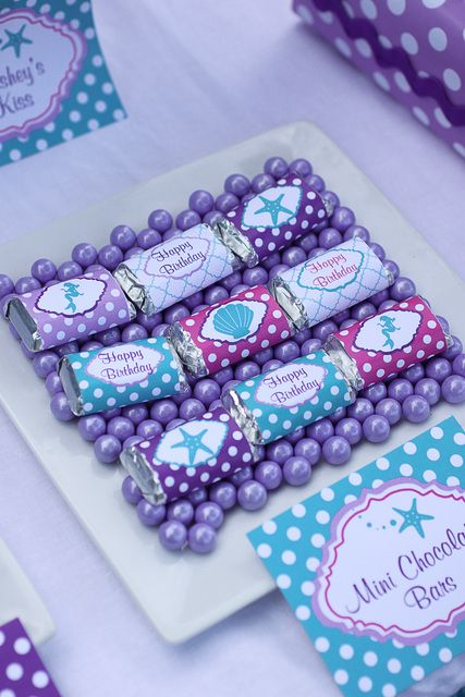 Cute treats at a Little Mermaid Birthday Party!  See more party ideas at CatchMyParty.com!
