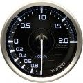 ラインナップ  Φ60はターボ計200kPa、ターボ計300kPa、油圧計、燃圧計、油温計、水温計、排気温度計の計7機種です。Φ80はタコメーターのみです。  Φ60のターボ計200kPaと水