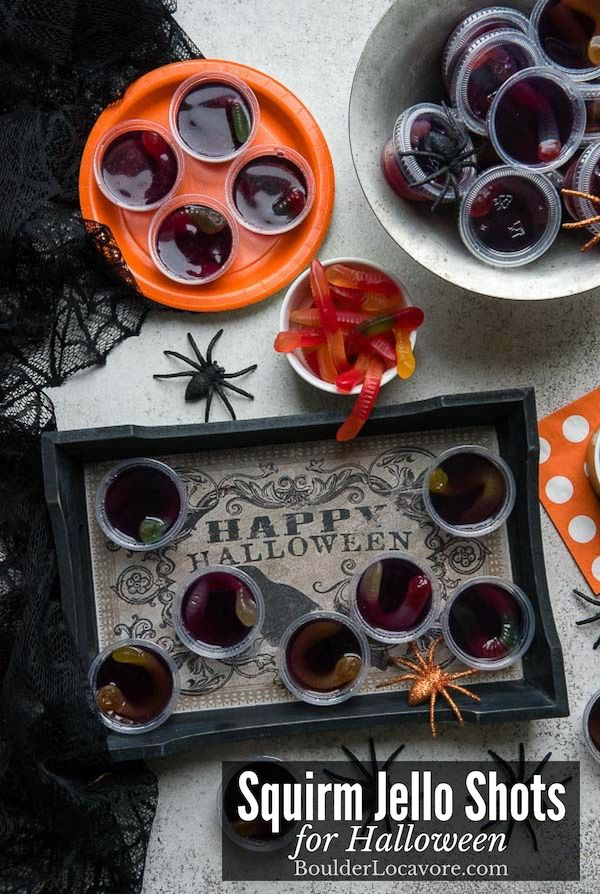 Squirm Jello Shots are an easy recipe for a boozy Halloween Party treat. Three i…