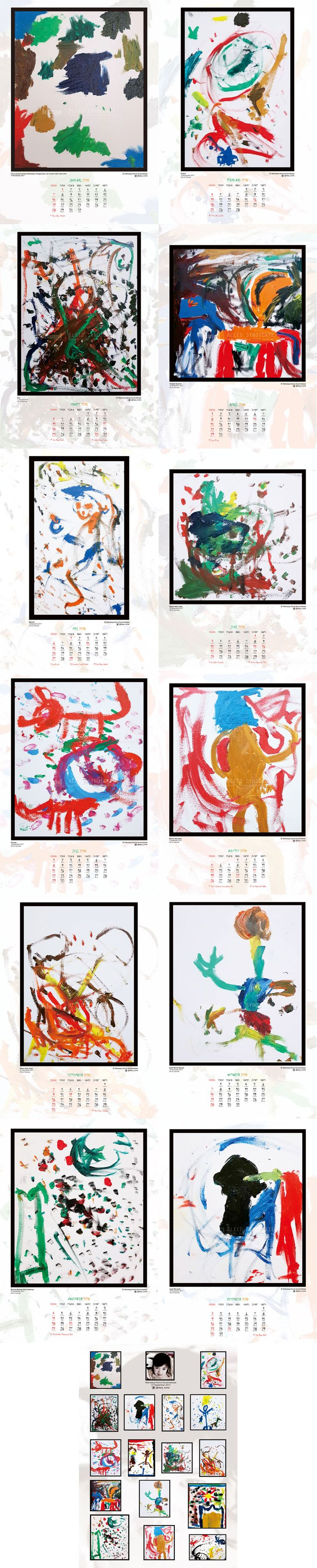 Calendar 2018 design for paintings from @daya_numa © 2018 @bleedsyndicate