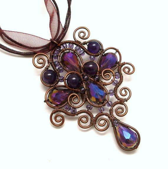 Amethyst Teardrop Copper Wire Wrapped Pendant Necklace, Soutache Styled Rustic Pendant