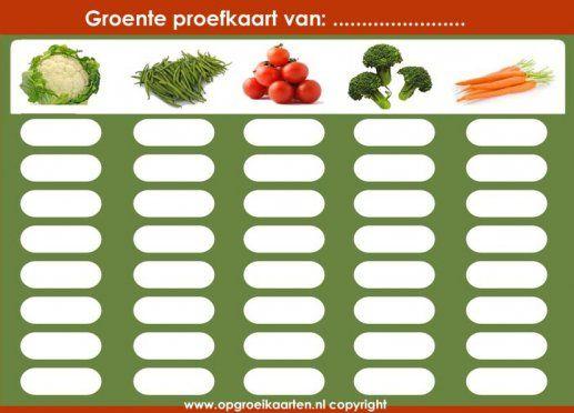 Groente proefkaart, Op deze kaart kunnen jullie samen bijhouden hoe vaak hij de groentes heeft geproefd. Aangezien kinderen na meerdere keren proeven wennen aan een smaak, is de kans groot dat je kind hierna de groentes lust!