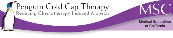 The Penguin Cold Cap is an easy, efficient, user friendly method of reducing or abolishing chemotherapy induced hair loss and involves continuous application of cooled caps to the scalp before, during and for a varying length of time after intravenous chemotherapy.