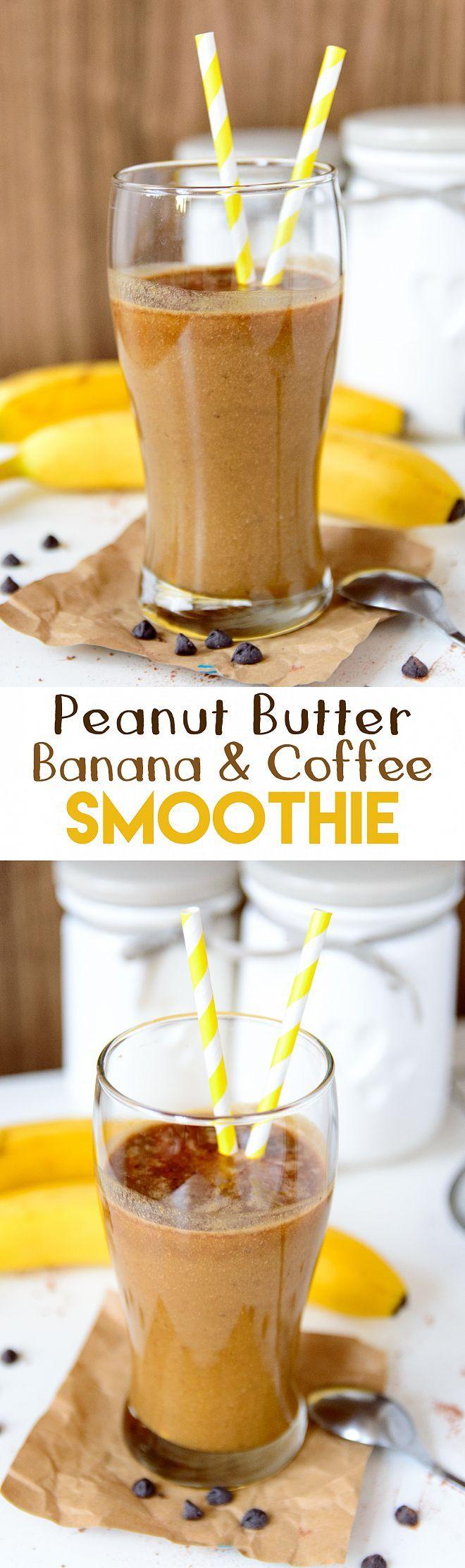 Peanut butter, banana and coffee smoothie {refined sugar free, GF, vegan-option} | myzucchinirecipes.com