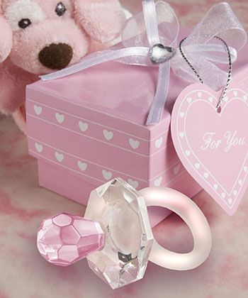 Crystal Pink Pacifier Favors : hotref.com