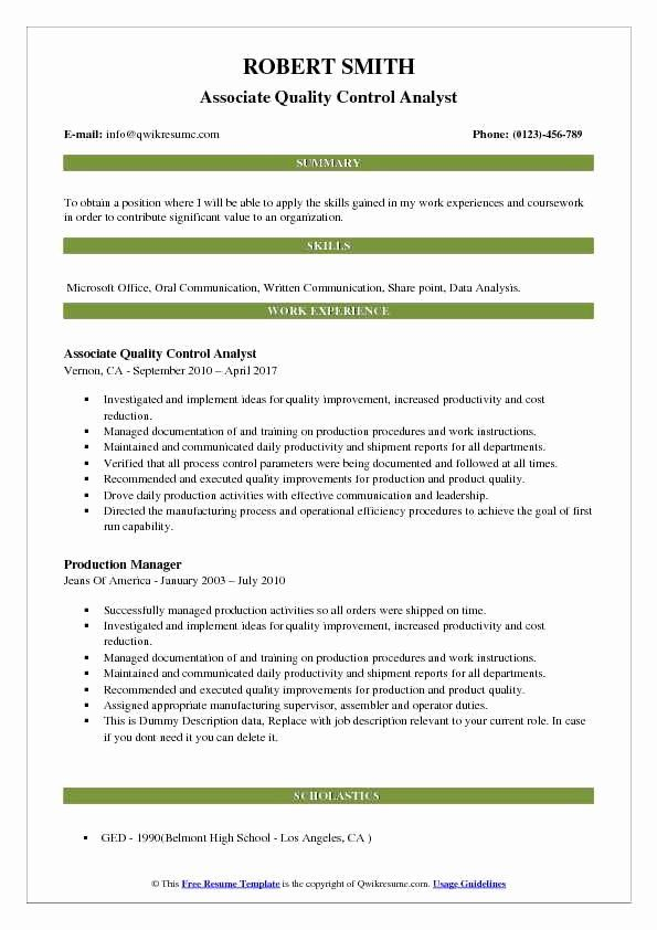 Quality Control Job Description Resume Unique Quality Control Analyst Resume Samples In 2020 Job Description Resume Job