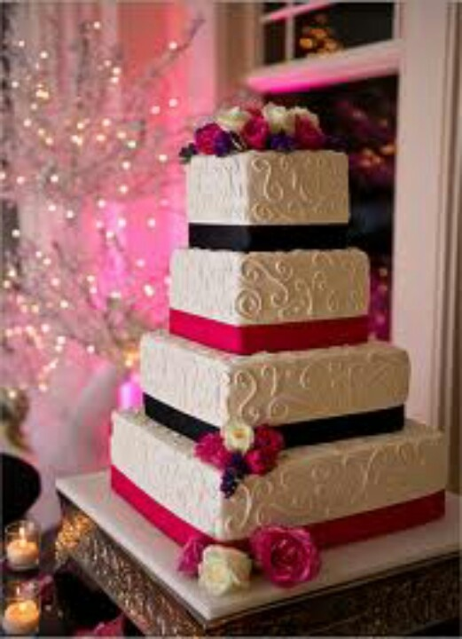 Really like the simplicity of this cake and the white on white design on it.