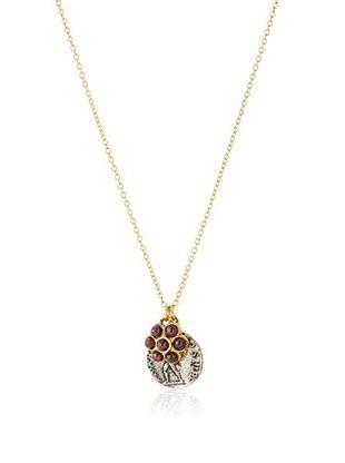 60% OFF Linda Levinson Garnet Flower & Coin Pendant Necklace