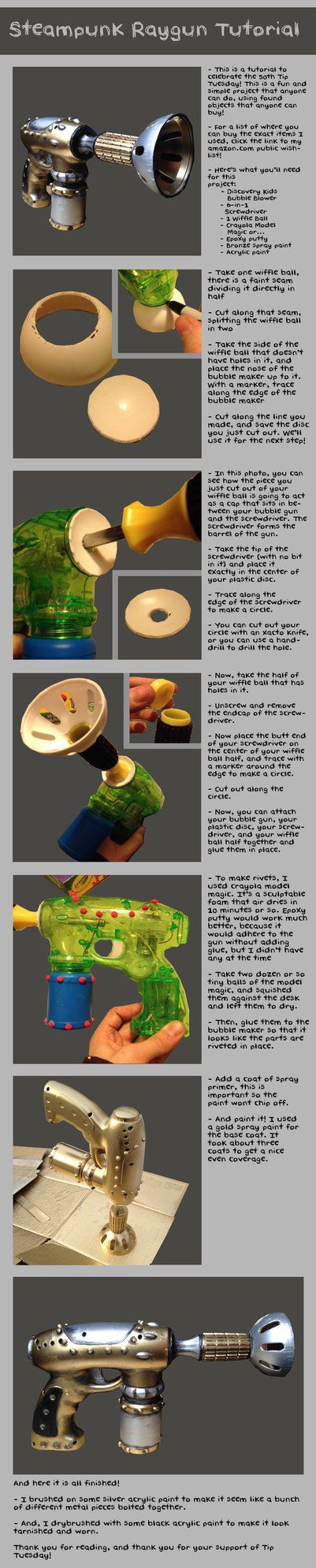 Kind of cute steampunk ray gun mod using bubble blower, wiffle ball, and a screwdriver. It's a good reminder to remember to use spray paint primer intended for plastic.