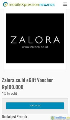 Konfirmasi penukaran poin MobileXpression dengan voucher belanja gratis Zalora | SurveiDibayar.com