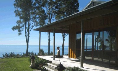 Shambhala - Takaka, Golden Bay (New Zealand)  http://www.shambhala.co.nz/home/  With magnificent views of Golden Bay, enjoy a more independent getaway in your self-catered lodge. Wander to your Yoga classes on mosaic and shell decorated pathways to a fantastic yoga space.