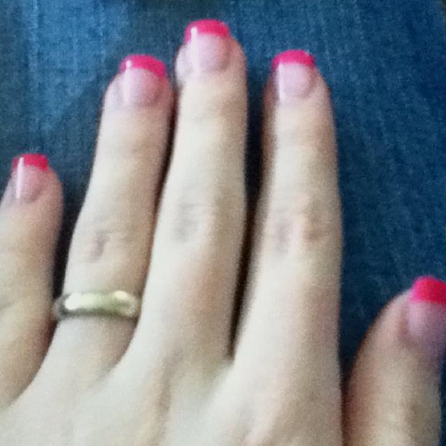 hot pink tip nails - photo #12
