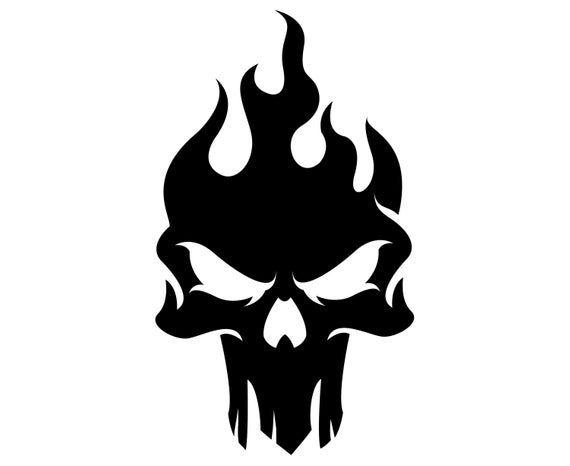 Skull Flame Fire Silhouette Svg Graphics Illustration Vector Logo Digital Clipart Skull Art Print Skull Art Skulls Drawing