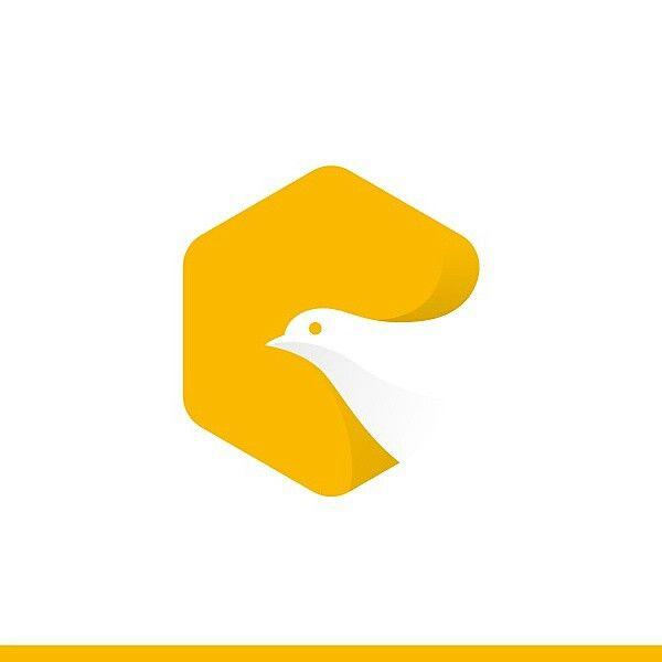 White dove logo, logo for an app.